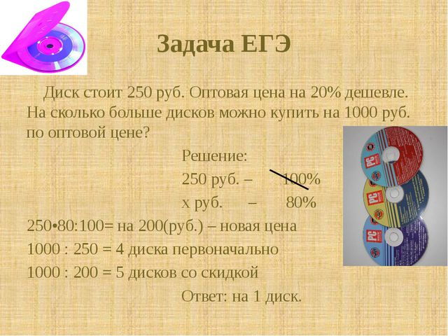 Задача ЕГЭ Диск стоит 250 руб. Оптовая цена на 20% дешевле. На сколько больше...