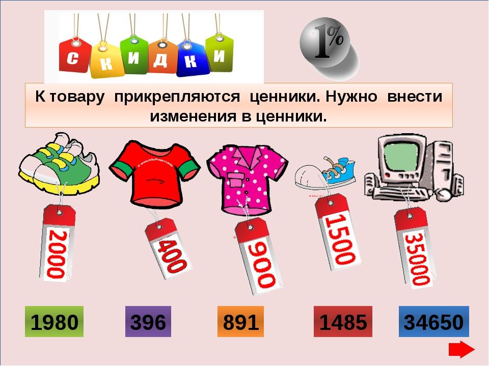 К товару прикрепляются ценники. Нужно внести изменения в ценники. 1980 396 8...