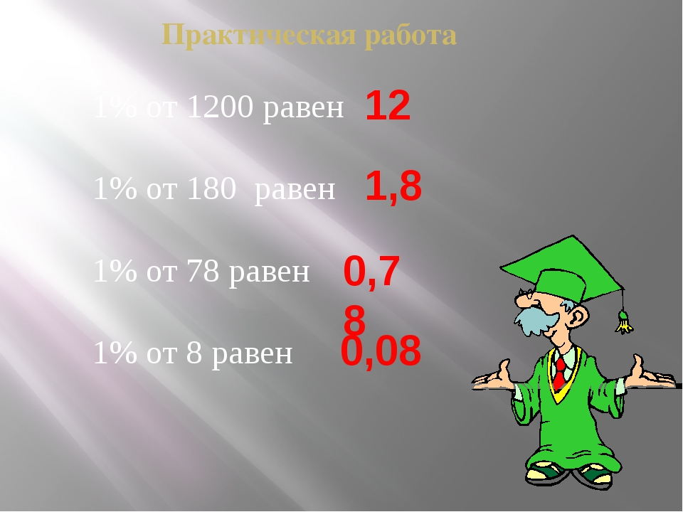 Практическая работа 1% от 1200 равен 1% от 180 равен 1% от 78 равен 1% от 8 р...