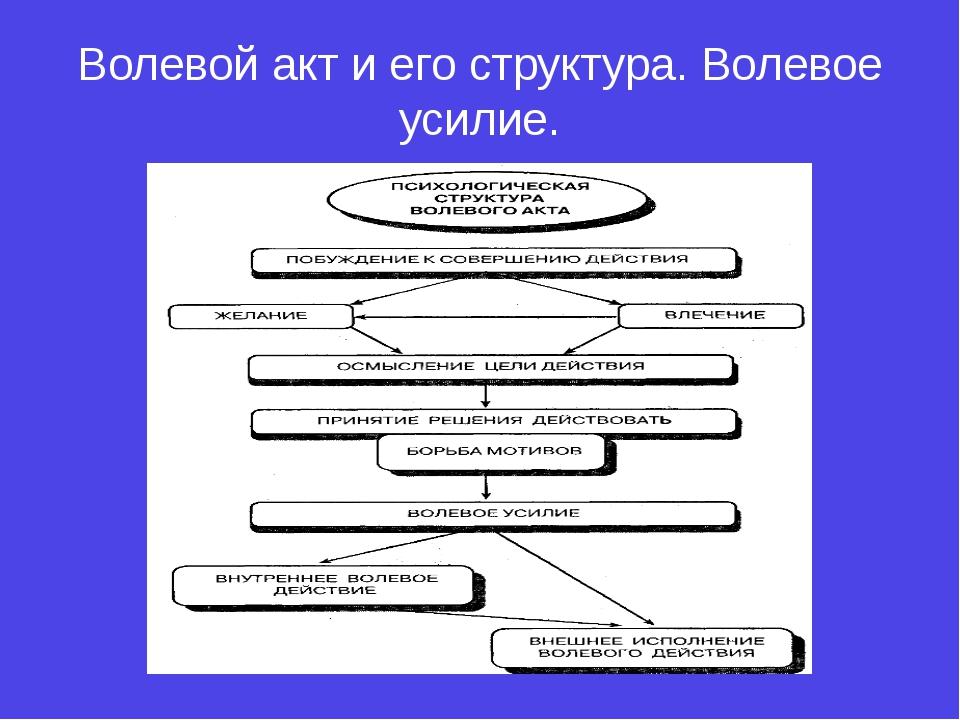 Волевой акт и его структура. Волевое усилие.