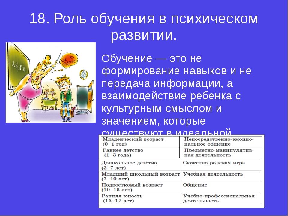 18.Роль обучения в психическом развитии. Обучение — это не формирование навы...