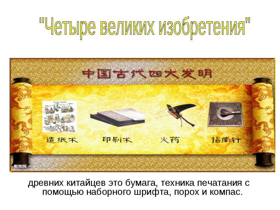 древних китайцев это бумага, техника печатания с помощью наборного шрифта, п...