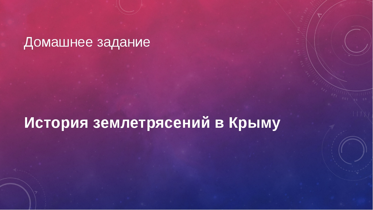 Домашнее задание История землетрясений в Крыму