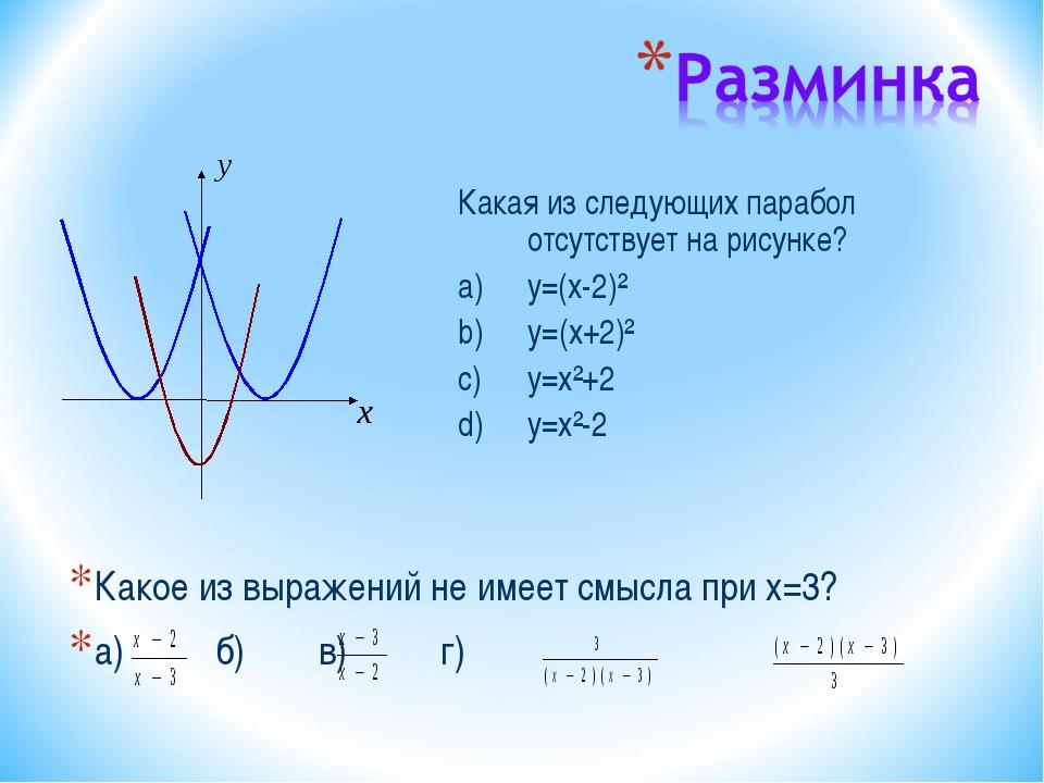 Какое из выражений не имеет смысла при x=3? а) б)в) г) Какая из следующ...