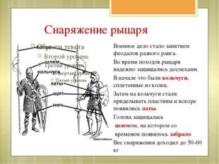 Военное дело стало занятием феодалов разного ранга. Во время походов рыцари н