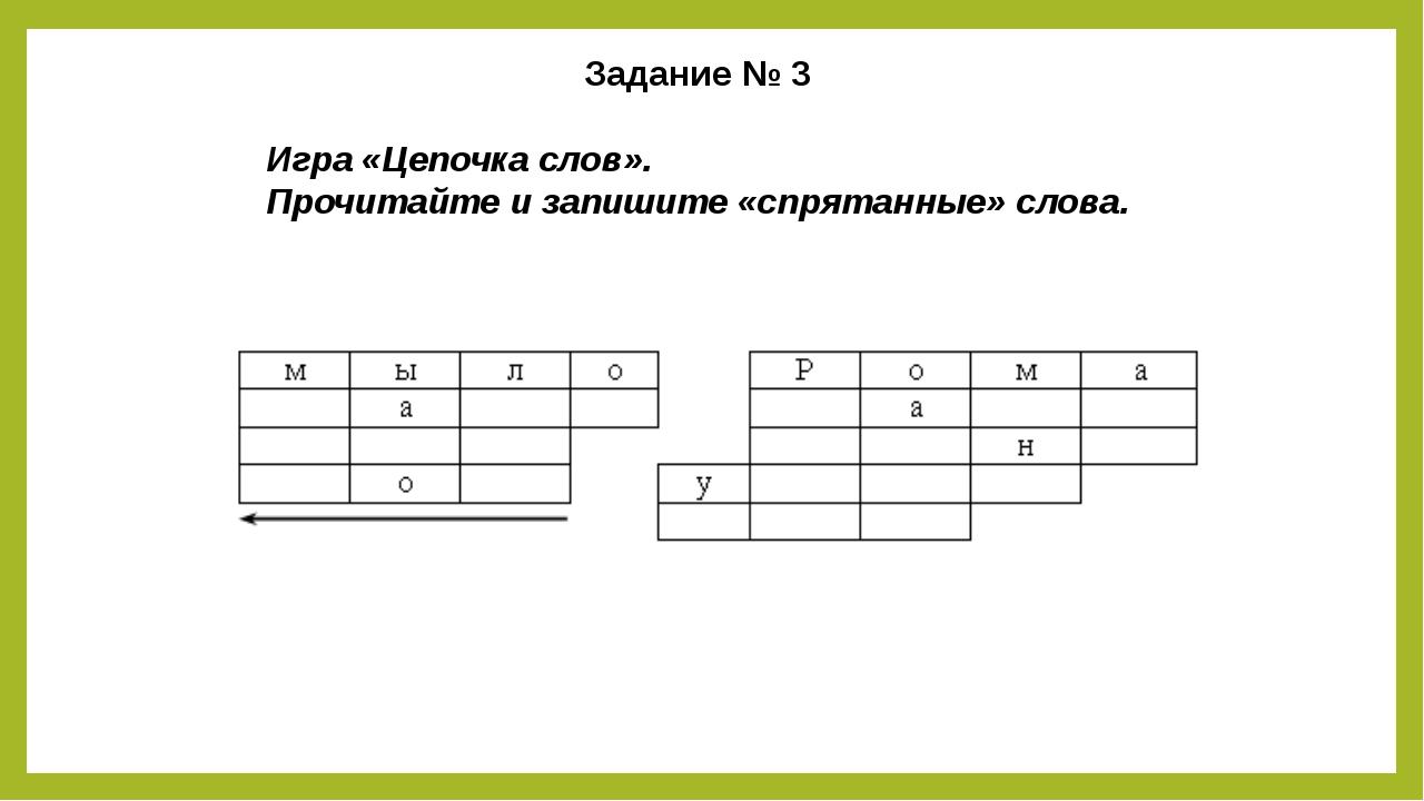 Задание № 3 Игра «Цепочка слов». Прочитайте и запишите «спрятанные» слова.