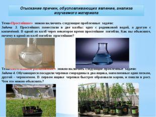 Отыскание причин, обусловливающих явление, анализа изучаемого материала Тема«