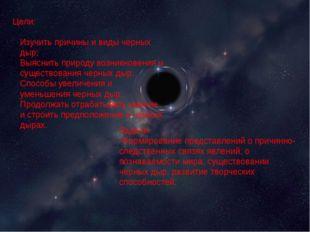 Цели: Изучить причины и виды черных дыр; Выяснить природу возникновения и су
