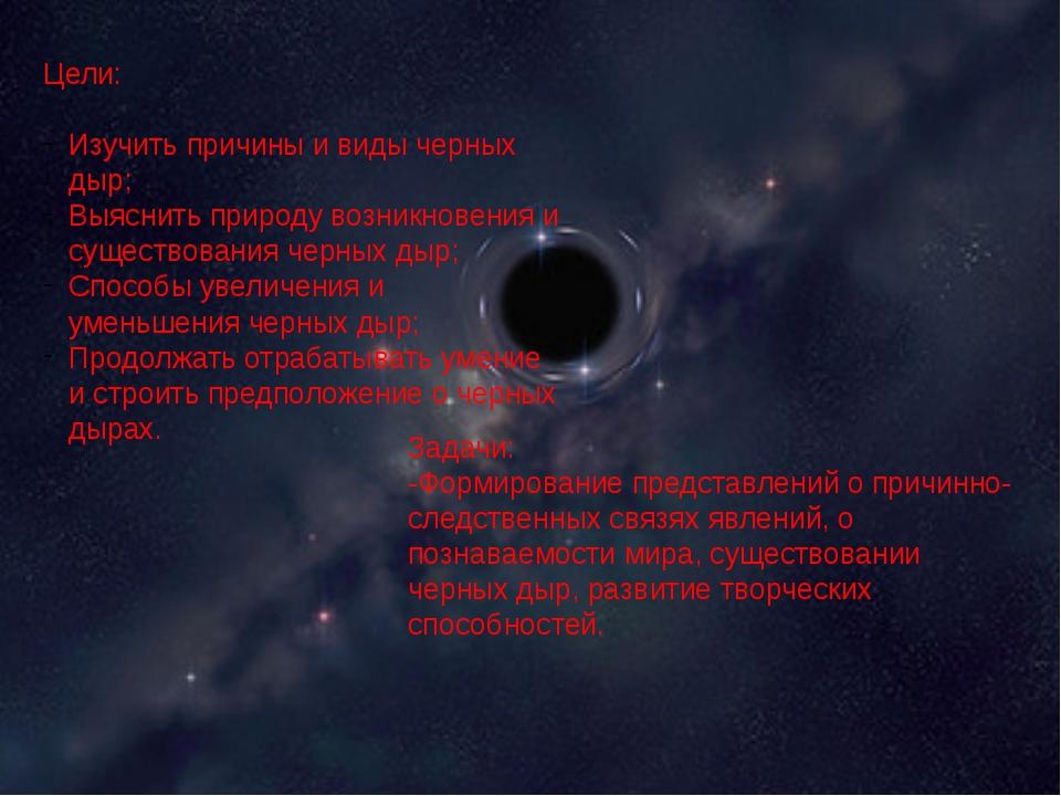 Цели: Изучить причины и виды черных дыр; Выяснить природу возникновения и су...