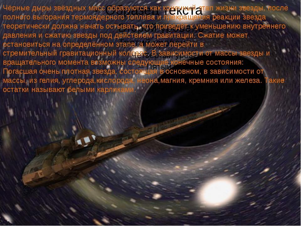 Чёрные дыры звёздных масс образуются как конечный этап жизни звезды, после п...