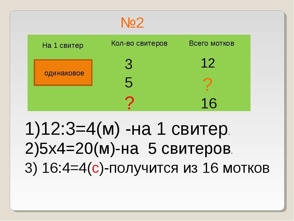 №2 Всего мотков Кол-во свитеров 12 3 5 ? На 1 свитер ? одинаковое 1)12:3=4(м)...