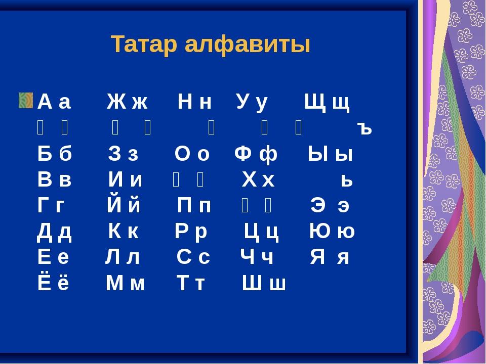 Татар алфавиты А аЖ жН нУ уЩ щ Ә әҖ җ ң...