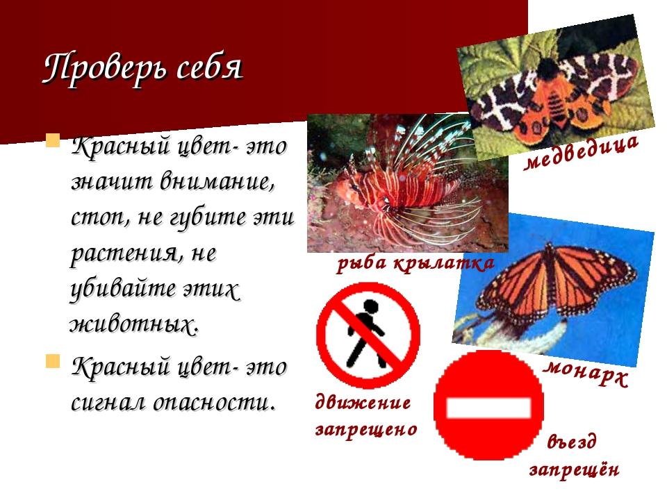 Проверь себя Красный цвет- это значит внимание, стоп, не губите эти растения,...