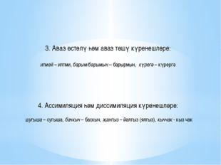 3. Аваз өстәлү һәм аваз төшү күренешләре: итмей – илтми, барым/барымын – бар