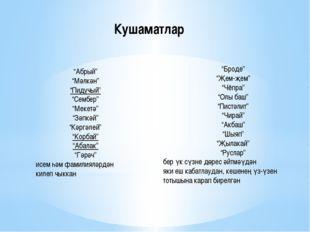 """Кушаматлар """"Абрый"""" """"Мәлкән"""" """"Пидучый"""" """"Сембер"""" """"Мекетә"""" """"Зәпкәй"""" """"Кәргәлей"""" """""""