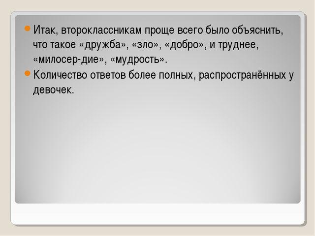 Итак, второклассникам проще всего было объяснить, что такое «дружба», «зло»,...