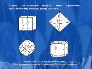 ФОРМЫ КРИСТАЛЛОВ КУБИЧЕСКОЙ СИСТЕМЫ. а – куб; б – октаэдр; в – додекаэдр; г –