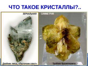 Элементы симметрии кристаллов: плоскость симметрии, ось симметрии, центр симм
