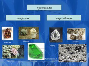 кристаллы искусственные природные Кораллы Аметрин Искусственный жемчуг Алмазы