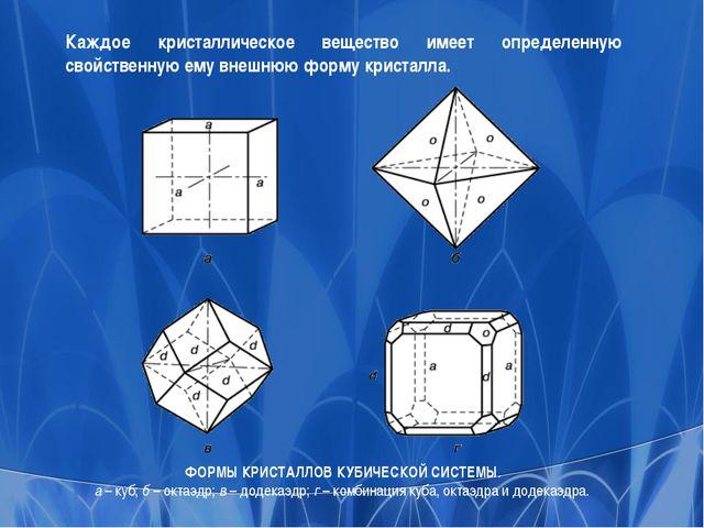 ФОРМЫ КРИСТАЛЛОВ КУБИЧЕСКОЙ СИСТЕМЫ. а – куб; б – октаэдр; в – додекаэдр; г –...