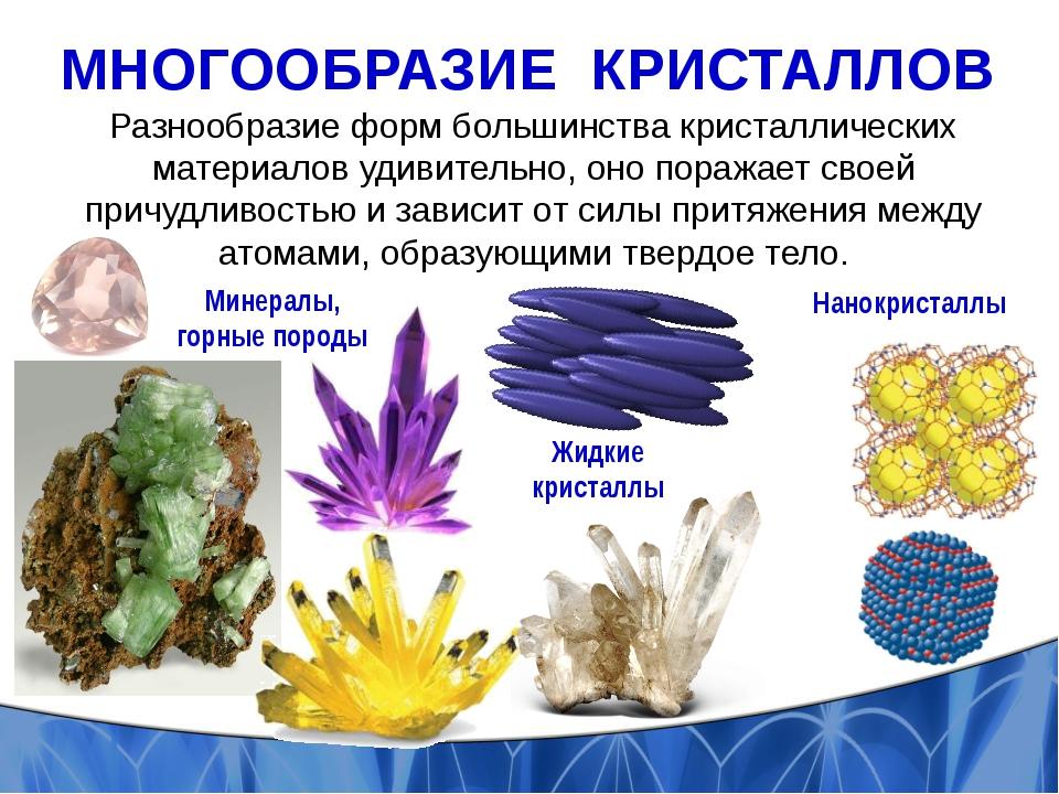 МНОГООБРАЗИЕ КРИСТАЛЛОВ Разнообразие форм большинства кристаллических материа...