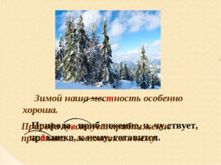 Зимой наша местность особенно хороша. Природа, приближение, и, чу.ствует, пра