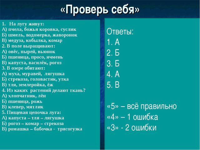 «Проверь себя» Ответы: 1. А 2. Б 3. Б 4. А 5. В «5» – всё правильно «4» – 1 о...