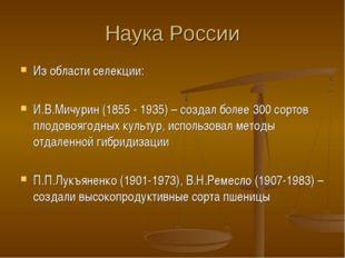 Наука России Из области селекции: И.В.Мичурин (1855 - 1935) – создал более 30