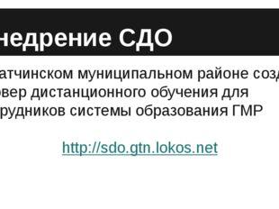 Внедрение СДО В Гатчинском муниципальном районе создан сервер дистанционного