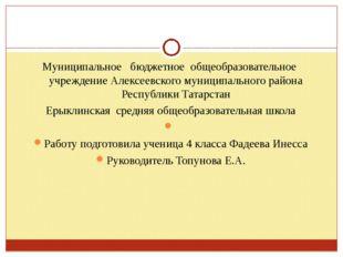 Муниципальное бюджетное общеобразовательное учреждение Алексеевского муниципа