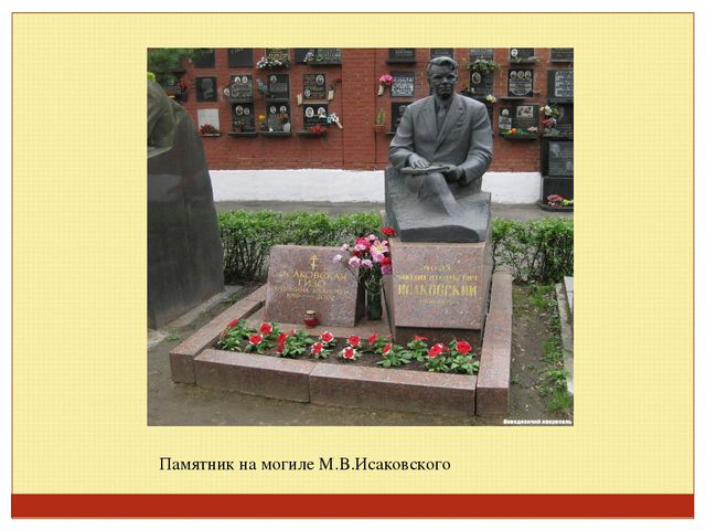Памятник на могиле М.В.Исаковского