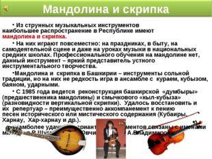 Из струнных музыкальных инструментов наибольшеераспространение вРеспублике