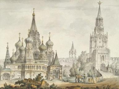 Портал Страны Фотошопии - Государственный Музей Фотошопии - Кваренги, Джакомо - Покровский собор и Спасская башня в Москве