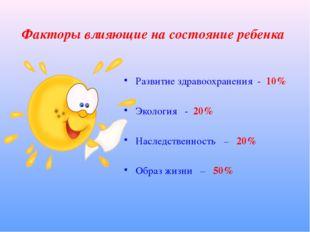 Факторы влияющие на состояние ребенка Развитие здравоохранения - 10% Экология
