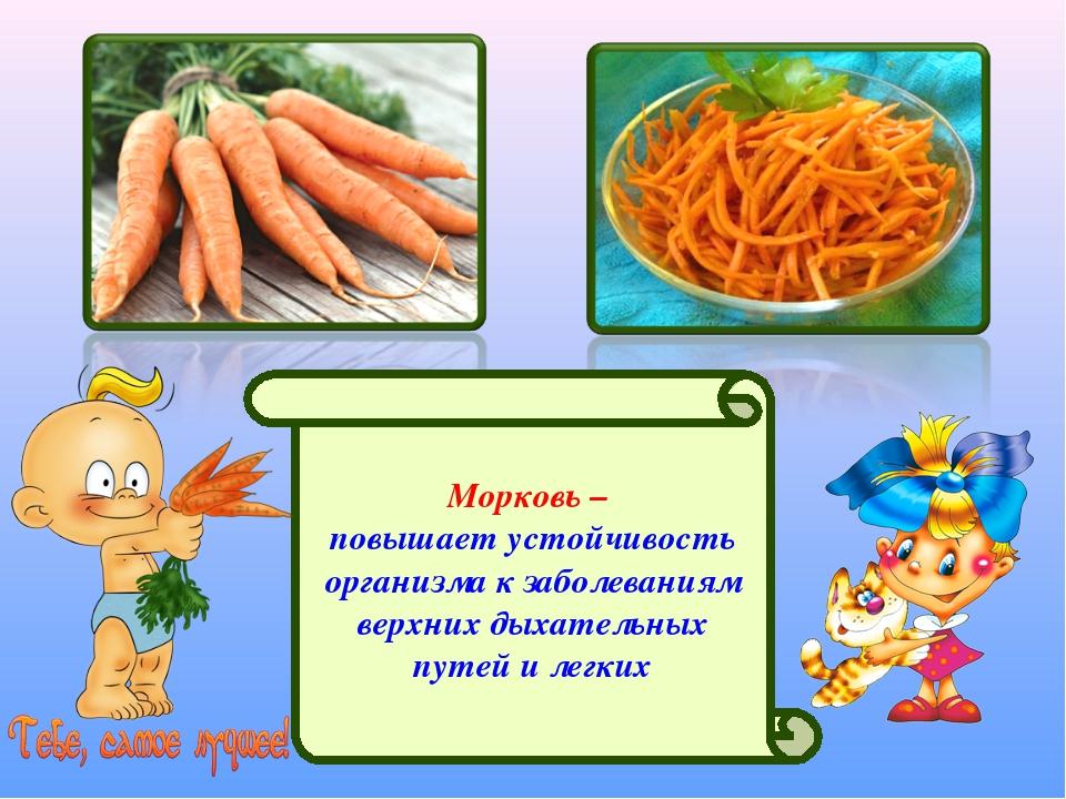 Морковь – повышает устойчивость организма к заболеваниям верхних дыхательных...