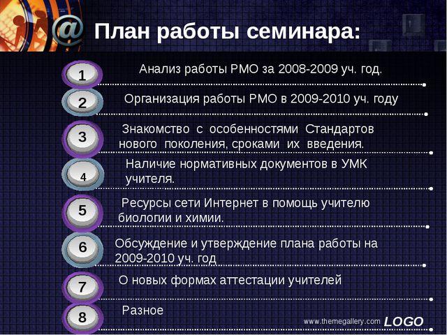www.themegallery.com План работы семинара: 4 Наличие нормативных документов в...