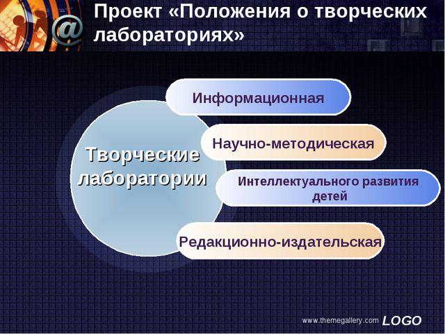 www.themegallery.com Проект «Положения о творческих лабораториях» Информацион...