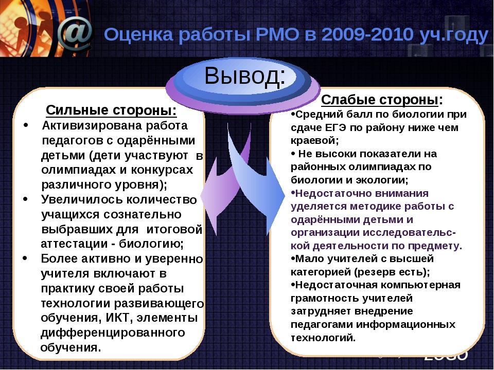 www.themegallery.com Оценка работы РМО в 2009-2010 уч.году Сильные стороны: А...