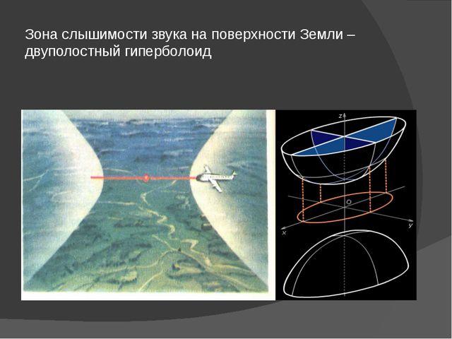 Зона слышимости звука на поверхности Земли – двуполостный гиперболоид
