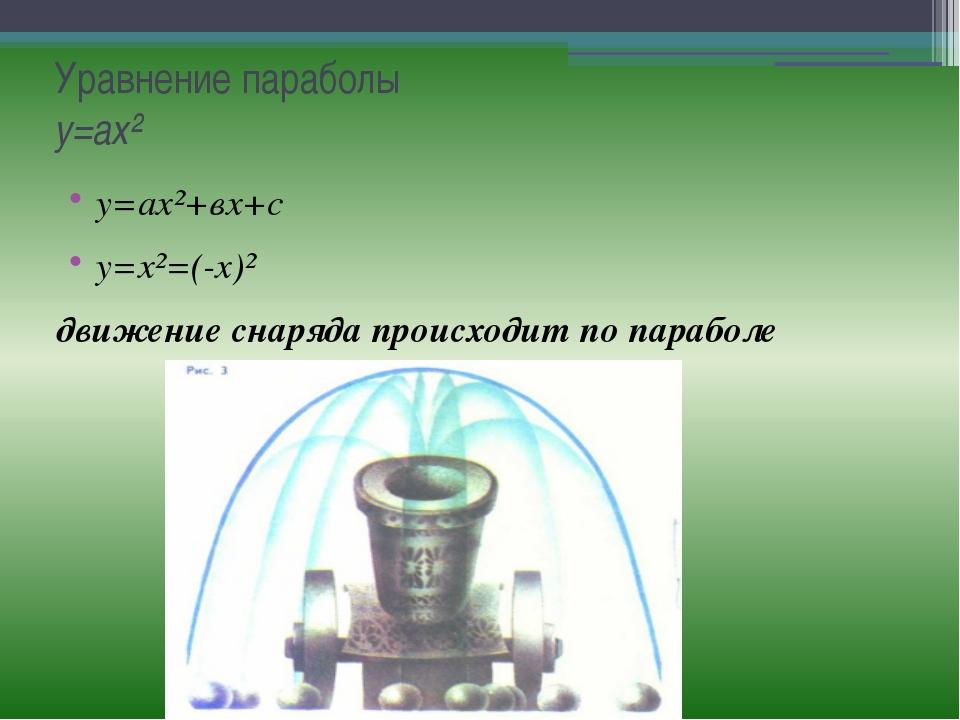 Уравнение параболы у=ах² у=ах²+вх+с у=х²=(-х)² движение снаряда происходит по...
