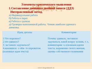 Элементы критического мышления 1.Составление дневника двойной записи (ДДЗ) Ин