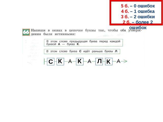 5 б. – 0 ошибок 4 б. – 1 ошибка 3 б. – 2 ошибки 2 б. – более 2 ошибок С К К...