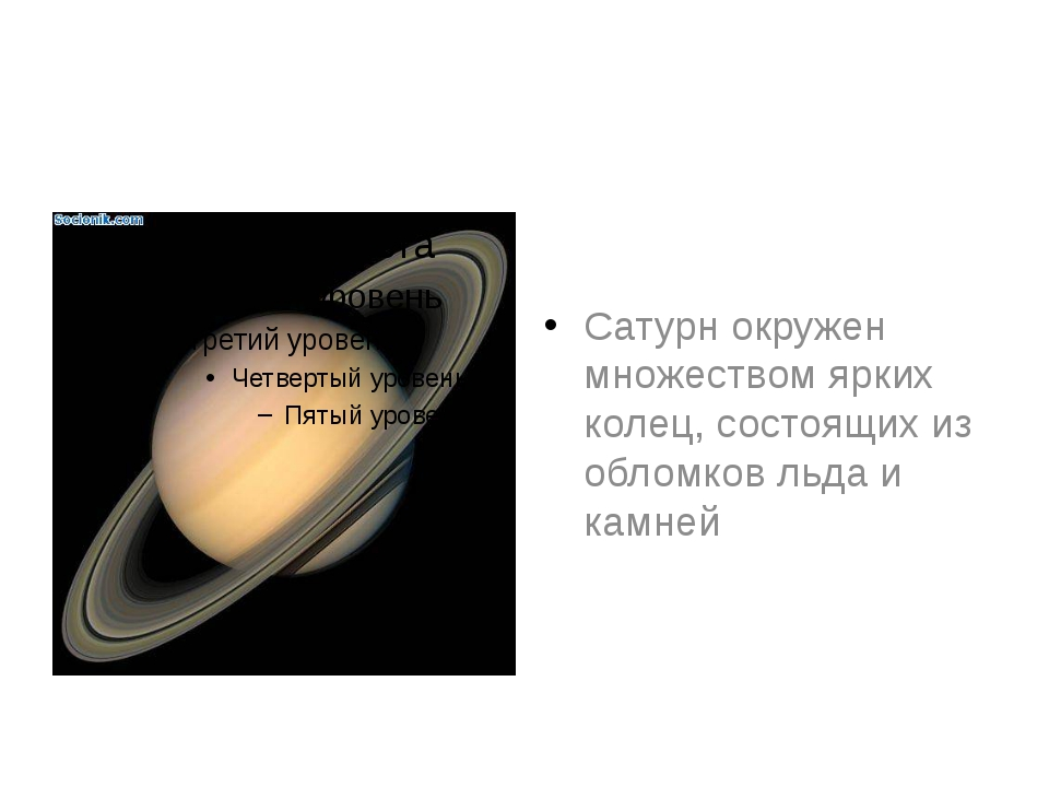 Сатурн окружен множеством ярких колец, состоящих из обломков льда и камней
