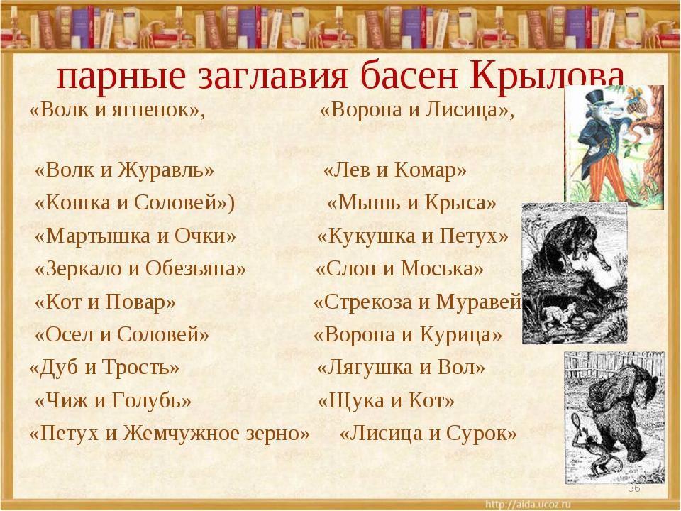 парные заглавия басен Крылова «Волк и ягненок», «Ворона и Лисица», «Волк и Ж...
