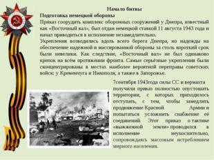 Начало битвы Подготовка немецкой обороны Приказ соорудить комплекс оборонных