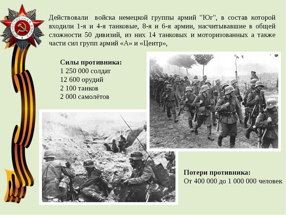"""Действовали войска немецкойгруппы армий """"Юг"""", в состав которой входили 1-я..."""