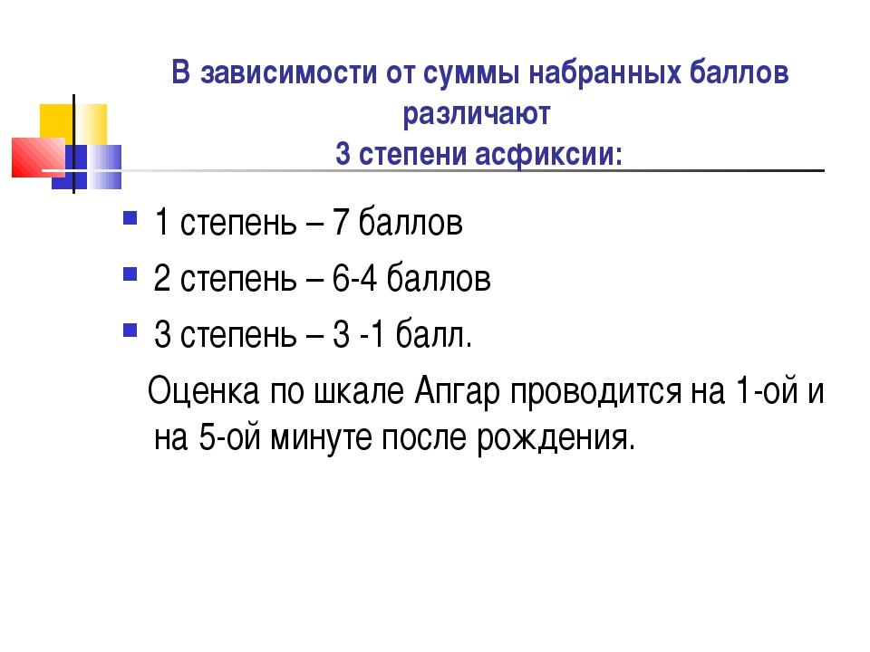 В зависимости от суммы набранных баллов различают 3 степени асфиксии: 1 степ...