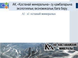 АҚ «Қостанай минералына» су қамбаларына экологиялық-экономикалық баға беру. w