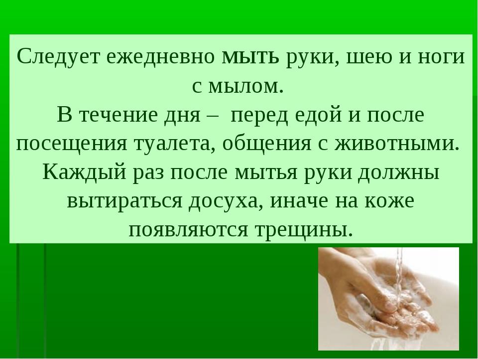 Следует ежедневно мыть руки, шею и ноги с мылом. В течение дня – перед едой и...
