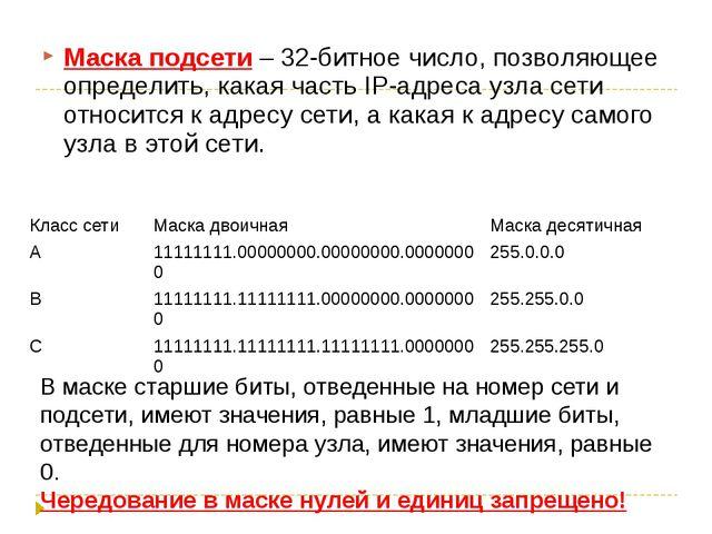 Маска подсети – 32-битное число, позволяющее определить, какая часть IP-адрес...